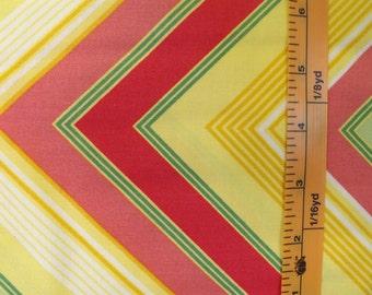 Westminster Fibers, Free Spirit Heather Bailey, Pop Garden, HB05-Zag Stripe, Yellow Green and Peach Chevon quilting material
