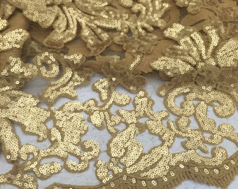 Beyonce, matte sequin, lace, gold color,fabric, sold by yard