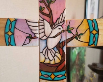 Lovely stained glass inspired wooden cross