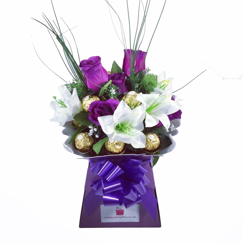 Luxury ferrero rocher purple silk roselily chocolate description this bouquet contains izmirmasajfo
