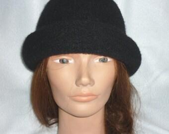 Black Rolled Brim Felted Hat
