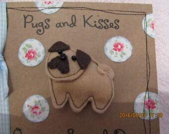Handmade Card with felt pug brooch pin Cath Kidston fabric