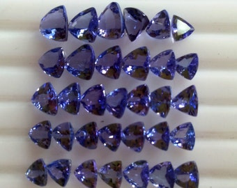 Natural AA Tanzanite Faceted Trillions Gemstone 43 Pc Lot.