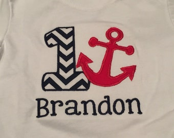 Nautical/anchor embroidered birthday shirt