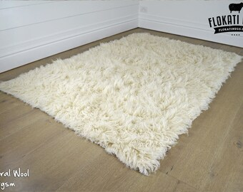 Flokati Wool Rugs - Handmade in Greece - 100% New Zealand Wool - Ultra Plush Rugs - NATURAL COLOUR - 1200gsm