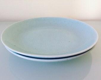 California Modern Santa Anita Ware Bread Plates Saucers 6 1/2 in. Blue Speckled | Set of 2