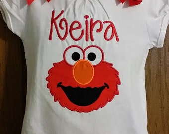 Adorable Personalized Girl's Elmo Shirt