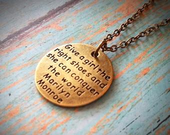 Marilyn Monroe Necklace / Boho Necklace / Vintage Necklace / Charm Necklace / Bronze Necklace