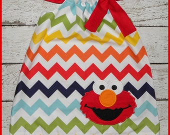 Rainbow  ChevronSesame Street Elmo Pillowcase style dress