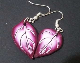 Handmade, **Purple Leaf Earrings** Crafted from Polymer Clay