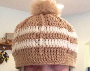 Crochet Hat & Scarf Set, lots of soft texture, crochet hat, crochet scarf, infinity scarf, Pompom hat, Adult hat, Winter Hat, Crochet Beanie