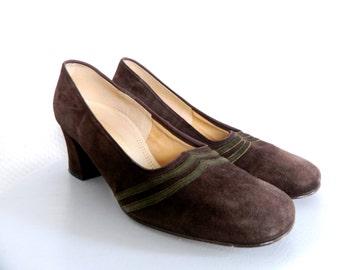 Vintage shoes, suede pumps, 70 s shoes, vintage pumps Leather Brown