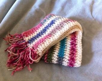 Crocheted Cream and Multi-Colored Scarf