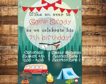 Boys Camping Birthday Party Invitation - Camping Invite - Boys Camping Invite