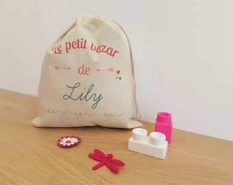 personalised cotton bag: blanket, snack bag, crib etc bag - girl