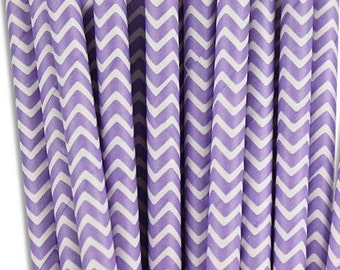 Light Purple/Lilac Chevron Design Paper Drinking Straws