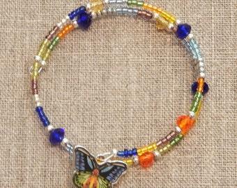 Blue/Green/Yellow Beaded Butterfly Bracelet