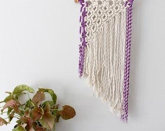 Purple Hand Dyed Macrame Wall Hanging