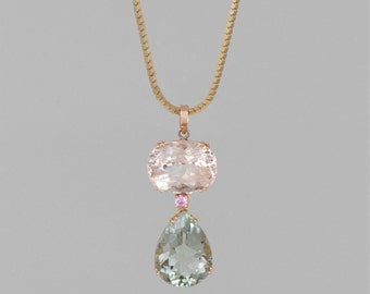 necklace of gold 14K Diamond rose 0.3 CT