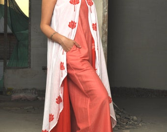 Peach and Red Hand Block Printed Jump Suit