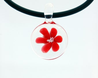 Glass jewelry necklace, hand blown glass pendant necklace, red flower glass pendant, unique pendant for her