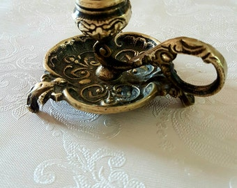 Antique Ornate Brass Candlestick Candle Holder  1920s 1930s