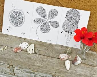 SUMMER TRIO - 3 prints, Hand Drawn, Pen and Ink, Art Print, illustration, Wall art, Kids Room Art