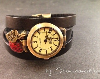 Watch bracelet bronze Brown flower red