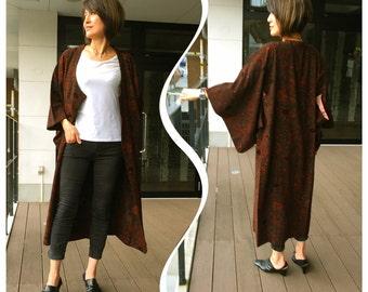 K229 Elegant Japanese Velvet Kimono Long Coat Vintage