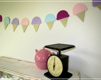 Ice Cream Cone Paper Garland - Paper Garland, Party Decor, Wedding Decor, Bridal Shower Decor, Baby Shower, Kids Room, Home Decor