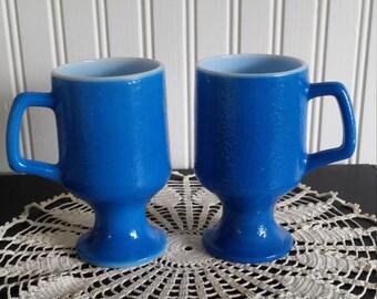 CLEARANCE SALE 50% OFF Set of Two Vintage Blue Milkglass Pedestal Mugs