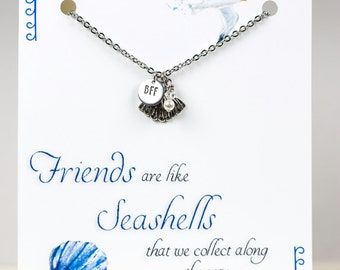 Personalized Friendship Necklace - BFF - Nautical - Seashell - with a Card - Ready to Gift  - Custom Nautical Necklace