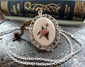 Pink Rose Embroidered Frame Necklace in Antique Silver