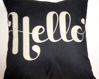 Decorative Throw Pillow Cover With Hello Saying, 18 inches x 18 inches, Hidden Zipper, Free Ship In USA