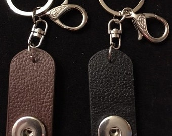 Genuine Leather Interchangeable Snap Key Chains for 18mm and 20mm Snaps - Choose from Either Brown or Black