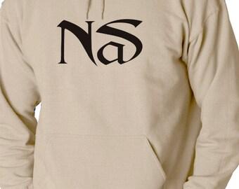 Nas BLACK LOGO Hoodie Classic Hip Hop Rap Sweatshirt Nasir New York Rap illmatic NEW