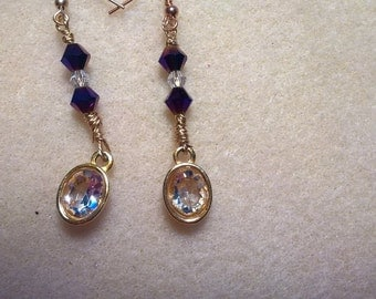 Crystal and sapphire drop earrings