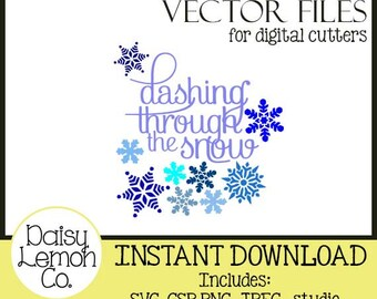 Vector File, Dashing through the Snow, snowflakes, Christmas Carol, SVG, Cutting machine, Silhouette