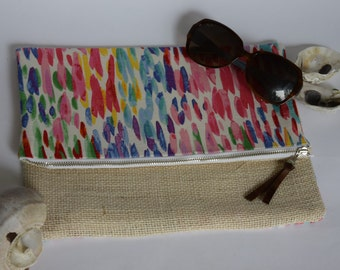 Multi Color Foldover Clutch Purse