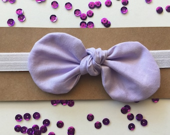 Knotted Fabric Bow with Headband - Lavender