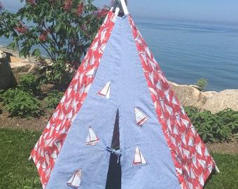 Teepee, Sailbaot teepee, nautical play tent , nautical teepee