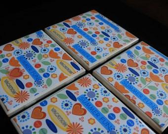 Handmade Coasters - Summer Coasters - Ceramic Coasters - Coasters for Drinks - Coaster Set - Summertime Tile Coasters - Coasters