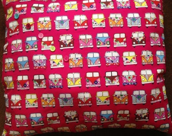 Handmade pink campervan cushion