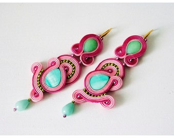 Pink Soutache Earrings, kolczyki sutasz, soutache jewelry,turquoise