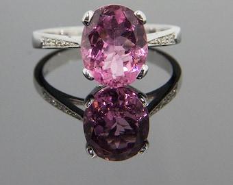 Pink Tourmaline and Diamond Ring 9ct White Gold