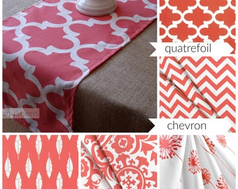 Coral Table Runner Kitchen Dining Room Decor Floral Chevron Feather Coral and White Linens Long Table Runner
