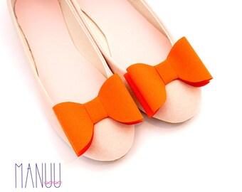 Orange/tangerine bows - shoe clips Manuu, Bridal shoe clips, Wedding shoe clips