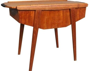 Danish Mid Century Modern Teak Side Table Sewing Cart