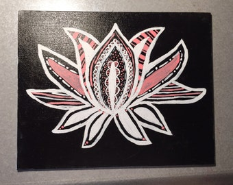 Black and Coral Lotus Flower (Made to Order!)
