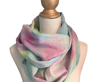 Hand painted linen infinity scarf #10